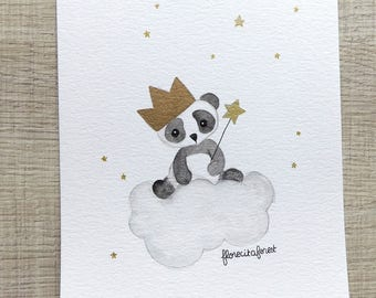Original watercolor panda crowned cloud illustration