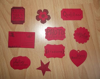 Set of 10 red cut outs for your pages and cards creations scrapbooking.