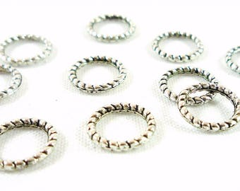 12 striated closed rings, silver, 8mm (AP3)