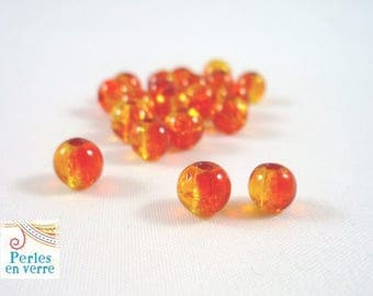 "50 Orange glass beads, ""cracked beads"", 4mm, (pv116)"