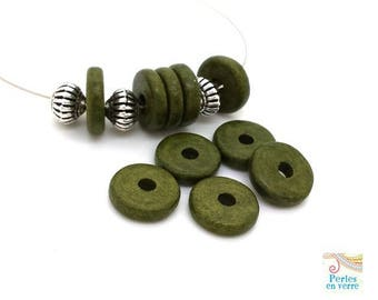Khaki: 10 beads matte ceramic rondelles, 2.5x12mm, Greece (pc181)