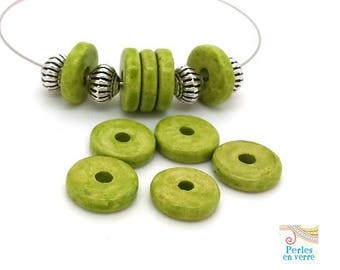 Apple green: 10 beads matte ceramic rondelles, 2.5x12mm, Greece (pc179)