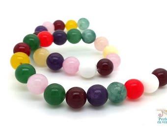 32 pearls jade 12mm mixed colors (pg219)