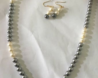 Grey and white glass pearl with earrings