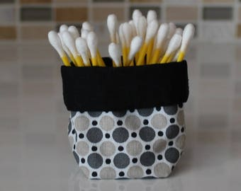 Basket with q-tips - reversible - round pattern - black, gray, beige and white