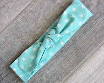 """Headband tie """"mint stars"""""""