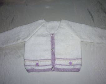 Vest size purple and white hand knitted 1 year