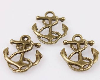 set of 5 charms anchor 25.4 mm bronze