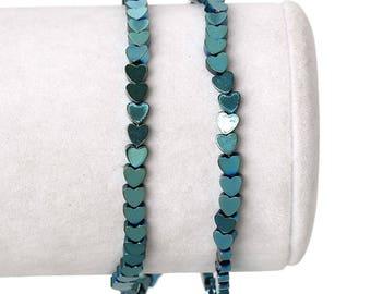 10 beads Hematite heart 4 mm