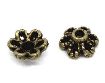 300 beads Cap Caps 6x2.8mm Bronze flower bead caps
