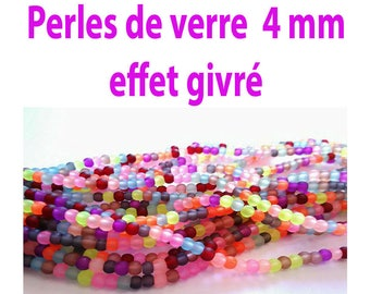 4 mm / 25 glass beads 4 mm multicolor frosted effect