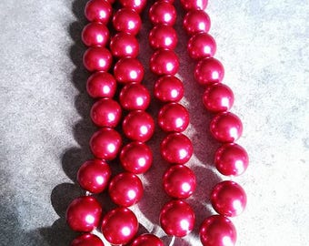 Pink 10 mm/10 10 mm Pearl glass beads