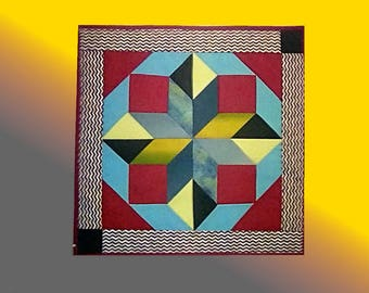 """""""Without Heading1"""". Textile wall hanging. Inspired by the traditional patchwork design reworked into a more contemporary perspective"""