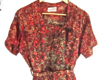 L 50s Dress Day Wear Belted Red Green Orange Brown Floral Short Sleeves Button Front Tie Collar by Smartsetter VLV Large