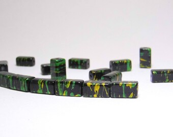 12 RECTANGLE 12X6MM BLACK GOLD GREEN CUBE BEADS