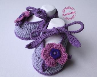 Chaussons bébé ballerines violettes