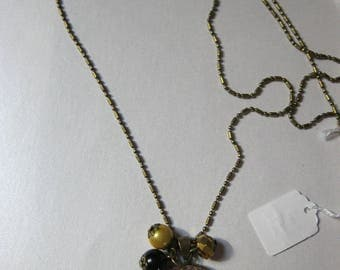 "Pendant necklace/retro/vintage bronze with glass cabochon 25mm ""geometric black and gold Vanilla"""