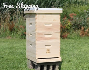 Bee Hive 10 Frame Langstroth - 1 Deep Brood & 3 Medium Super Boxes includes Frames / Foundations