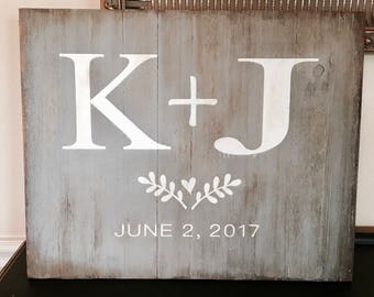 Distressed wood painted initials wedding sign