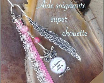 """Bookmark feather cabochon """"caregiver great OWL"""", pink and white"""