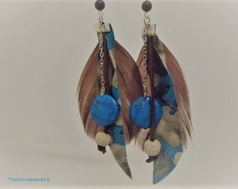 Earrings creator, ethnic, chic, feathers, lava, howlite, chocolate, turquoise, beige, single Pearl, passionnementseize, France