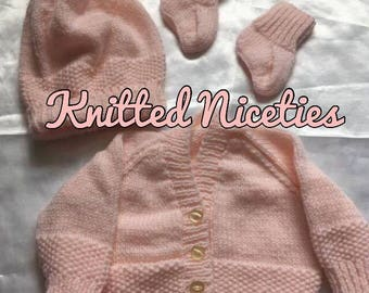 0-3 months Hand Knit Peach Cardigan Set ~ Newborn Gift ~ New Arrival Gift ~ Baby Gift ~ Hand Made