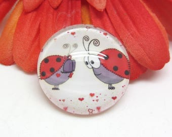 2 cabochons 14 mm glass Ladybug in Love - 14 mm