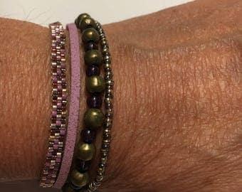 MULTISTRAND Cuff Bracelet pink and bronze
