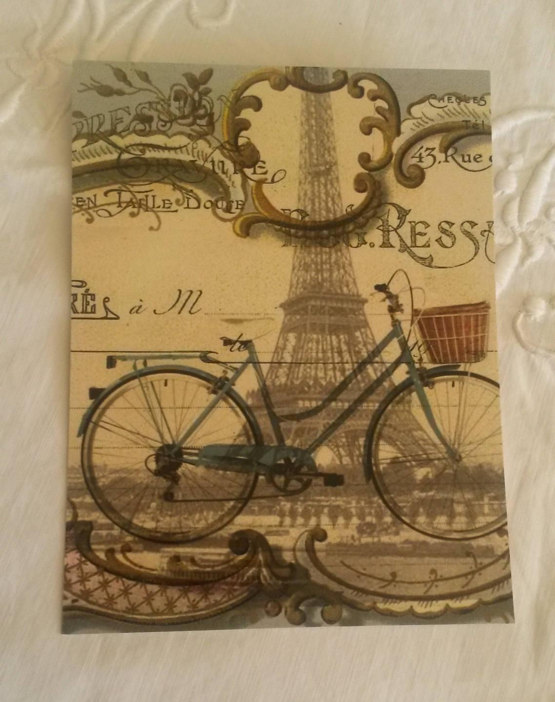 carte postale vintage pour scrapbooking d cor bicyclette et. Black Bedroom Furniture Sets. Home Design Ideas
