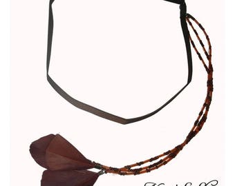 Brown headband, feather jewelry