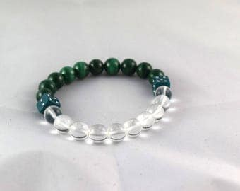 Bracelet malachite quartz and dice beads