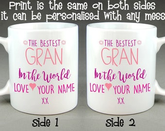 The Bestest Gran (or Granny) in the World Personalised Mug