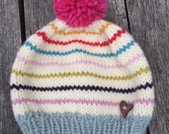 Multi Stripe Pom Pom Hat - Hand Knit Child