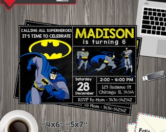 INSTANT DOWNLOAD - Batman Invitation, Batman Invites,Batman Superheroes Dark Knight,Batman Birthday Invitation,Superhero Birthday Invitation