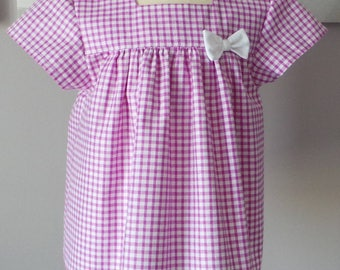 gingham and white bermuda blouse set 18 months