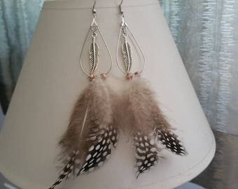 Earrings with feather
