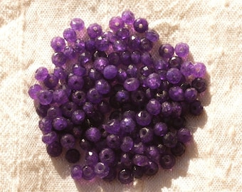 30pc - beads - faceted Rondelle 4x2mm purple Jade - stone 4558550011046