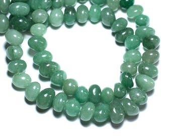 10pc - stone beads - Aventurine green pebbles 8-11mm - 8741140008441