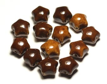 -Ceramic porcelain star 16mm Brown ochre coffee beads - 6PC 8741140017382