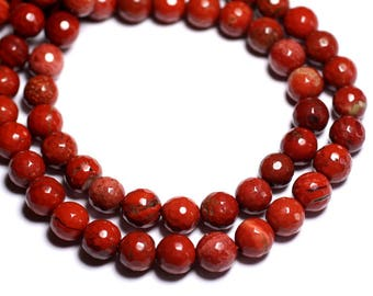 6PC - stone beads - red Jasper 8mm - 8741140005204 faceted balls