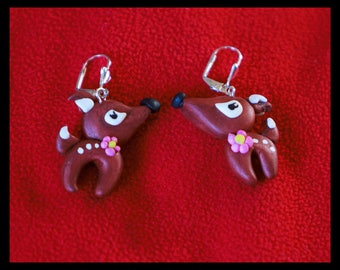 polymer clay deer Christmas jewelry gift earring