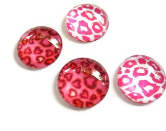 4 cabochons Glas 20mm round pink Panther, leopard, jungle, for jewelry