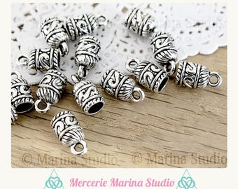 10 tips cords silver 14x7mm for cords or creations of tassels