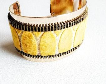 Yellow velvet woman Cuff Bracelet - adjustable gold