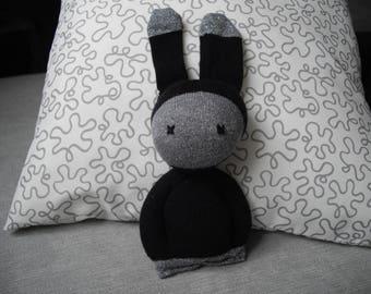 Plush Bunny, baby-toddler, sock, gray/black glitter