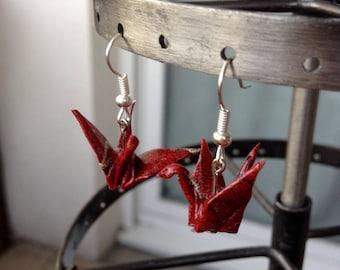 Boucles d'oreille avec Grue en origami