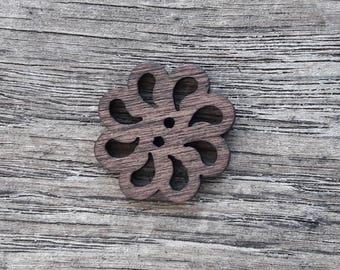 Set of 5 wooden buttons, Openwork, design, flower, 20 mm / / ID no. 23