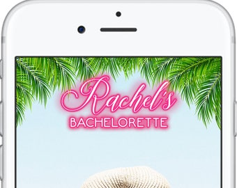 Bachelorette Snapchat Geofilter | Snapchat Geofilter | Flamingo Snapchat Filter | Neon Lights Snapchat Filter | Palm Tree Filter