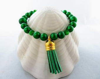 Green Beaded Bracelet With Green Tassel