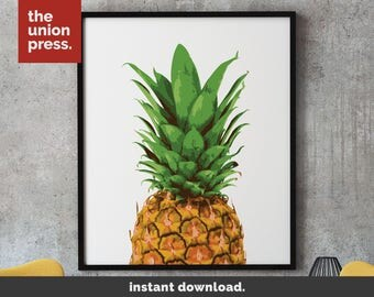 Pineapple Print Instant Download, Pineapple Wall Art, Pineapple Decor Tropical Print Pineapple Poster Printable Tropical Decor